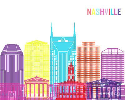 Nashville V2 Skyline Pop Poster by Pablo Romero