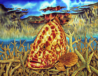 Nassau Grouper And Staghorn Coral Poster
