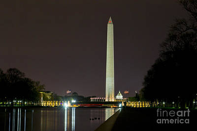 Poster featuring the photograph National Mall At Night by Angela DeFrias