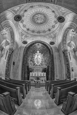 National Shrine Of The Immaculate Conception Chapel Bw Poster by Susan Candelario