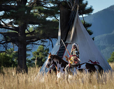 Native American In Full Headdress In Front Of Teepee Poster by Nadja Rider