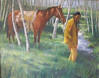 Native American Leading Horse Poster