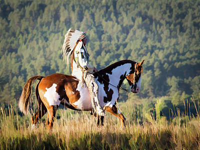 Native American On His Paint Horse Poster