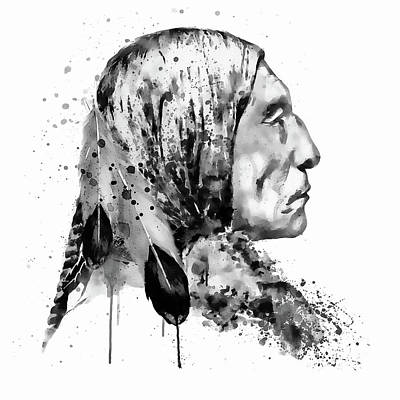 Native American Side Face Black And White Poster by Marian Voicu