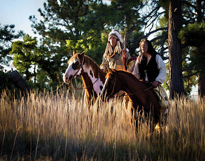 Native Americans On Horses In The Morning Light Poster