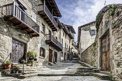 Natural Stone Street In Rupit Catalonia Poster by Marc Garrido