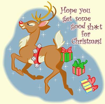 Naughty Reindeer Poster