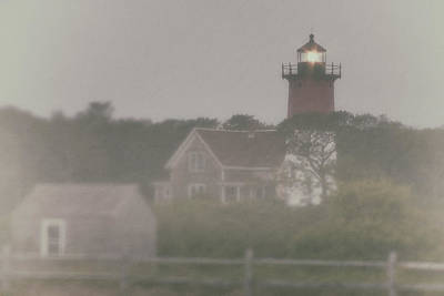 Nauset Lighthouse In Red And White From Early Morning To Late Poster by Jeff Folger