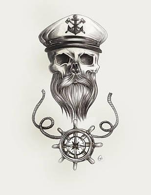 Nautical Bearded Skull Poster by Jasmine Mills