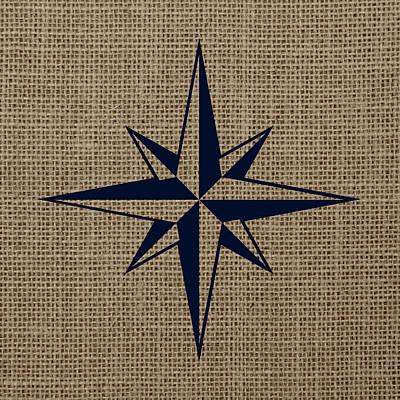 Nautical Star Burlap Poster by Brandi Fitzgerald