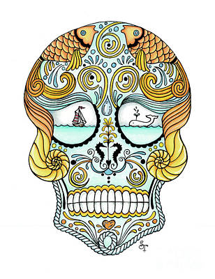 Nautical Sugar Skull Poster by Stephanie Troxell