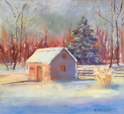 Poster featuring the pastel Nauvoo Winter Scene by Rebecca Matthews