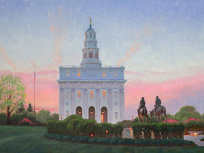 Nauvoo Temple In Spring Poster by Warren Neary