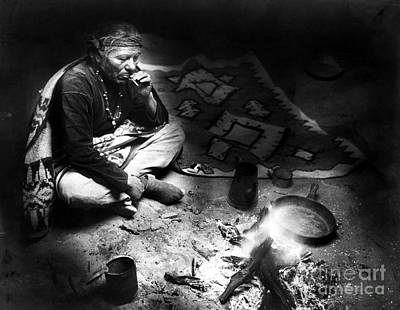 Navajo Man Smoking, C1915 Poster