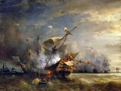 Naval Combat Off Cape Lizard In Cornwall Poster