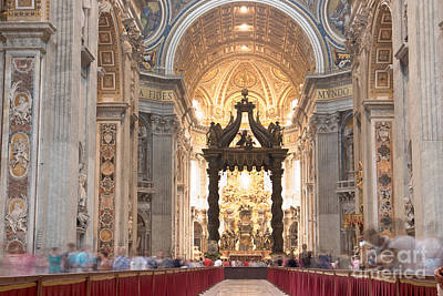 Nave Baldachin Cathedra And People Poster by Fabrizio Ruggeri