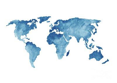 World Map Blue, Navy Kids Room Painting, Watercolor  Baby Boy Nursery Wall Decor Poster by Joanna Szmerdt