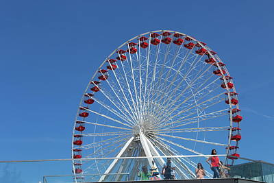 Navy Pier Ferris Wheel Poster by Carolyn Ricks