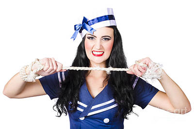 Navy Pin Up Poster Girl Breaking Rope Poster