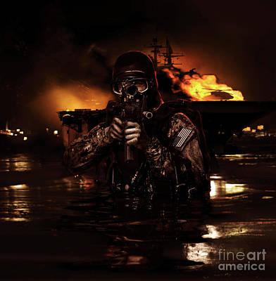 Navy Seal Frogman Poster by Oleg Zabielin