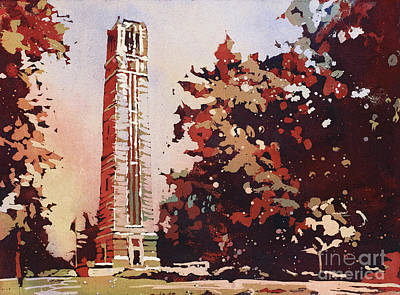 Poster featuring the painting Ncsu Bell-tower II by Ryan Fox