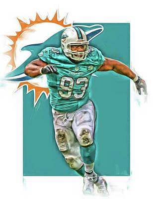 Ndamukong Suh Miami Dolphins Oil Art Poster by Joe Hamilton