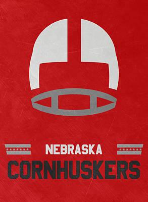 Nebraska Cornhuskers Vintage Art Poster by Joe Hamilton