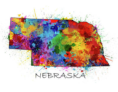 Nebraska Map Color Splatter  Poster