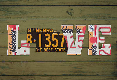 Nebraska State Love Heart License Plates Art Phrase Poster