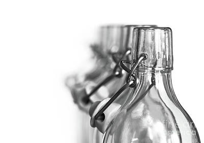 Neck Of Glass Bottles With A Porcelain Stopper Poster by Michal Boubin