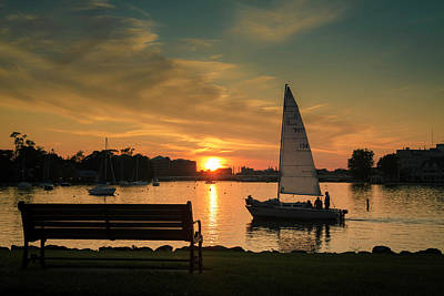 Poster featuring the photograph Neenah Harbor Sunset by Joel Witmeyer