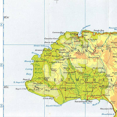 Negril Jamaica Map Poster