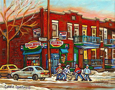 Neighborhood Corner Store Montreal Art Hockey Game Winter City Scene Carole Spandau Painting         Poster