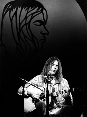 Poster featuring the photograph Neil Young 1976 by Chris Walter