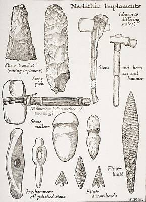 Neolithic Implements From The Book The Poster by Vintage Design Pics