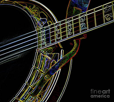 Neon Banjo  Poster by Wilma Birdwell
