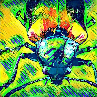Neon Beetle Poster by Amy Cicconi