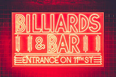 Neon Billiards Poster by Christopher Frederick