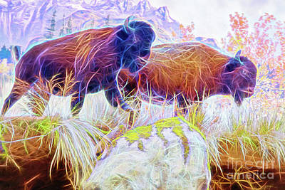 Poster featuring the digital art Neon Bison Pair by Ray Shiu