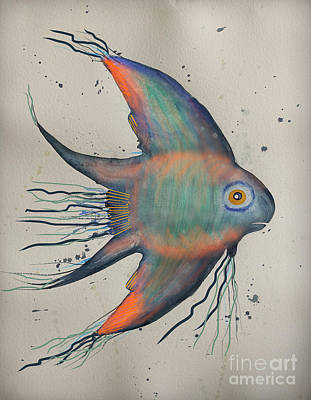 Poster featuring the mixed media Neon Blue Fish by Walt Foegelle