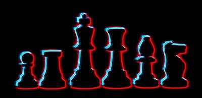 Neon Chess Pieces Poster