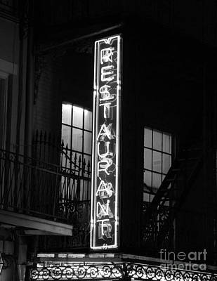 Neon French Quarter Bw Poster by Joseph Baril