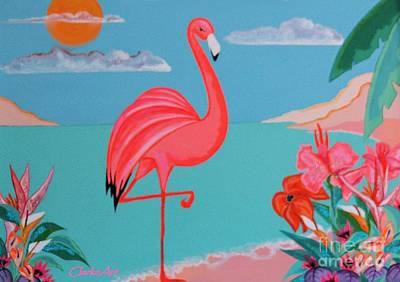 Neon Island Flamingo Poster