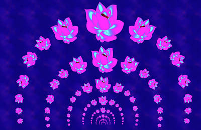 Neon Pink Lotus Arch Poster