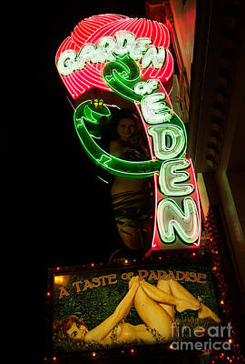 Neon Sign At Night In North Beach San Francisco 1 Poster by Jason Rosette
