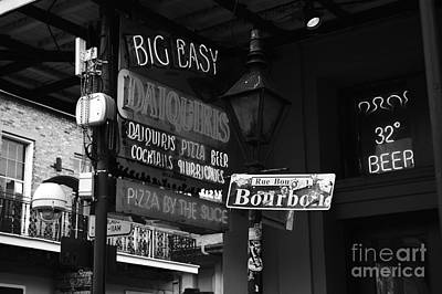 Neon Sign On Bourbon Street Corner French Quarter New Orleans Black And White Poster by Shawn O'Brien