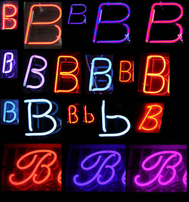 Neon Sign Series Featuring The Letter B  Poster