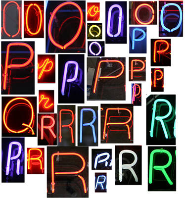 neon sign series O through R Poster by Michael Ledray