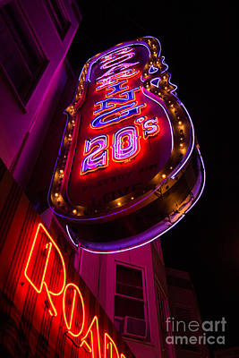 Neon Signs At Night In North Beach Low Angle Ve Poster by Jason Rosette