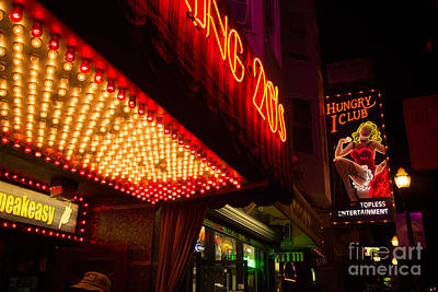 Neon Signs At Night In North Beach San Francisco With Light Bulb Awning Poster by Jason Rosette